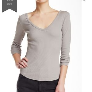 James Perse rib knit long sleeve v neck tee